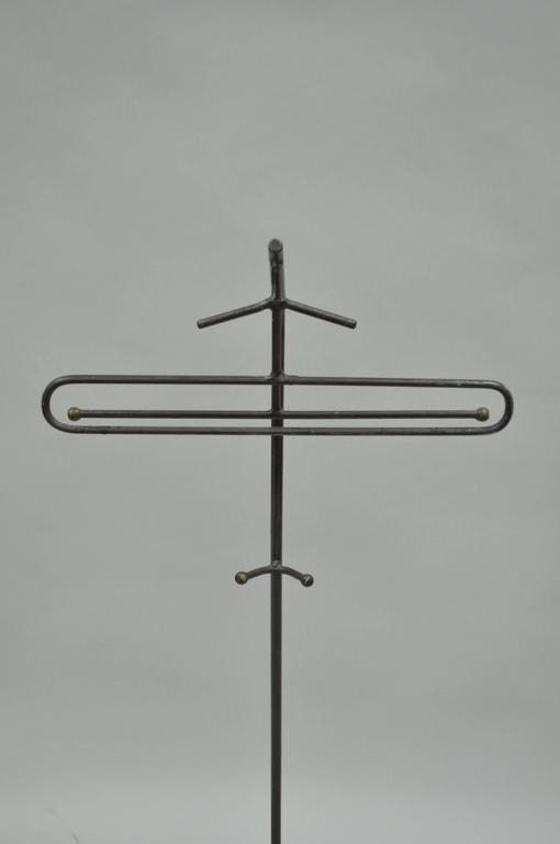 Mid-Century Modern Wrought Iron Modernist Hairpin Valet after Jacques Adnet For Sale 2