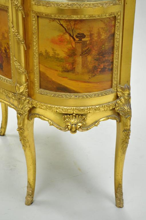 19th Century French Louis XV Gold Giltwood Vernis Martin Curved Glass Vitrine Curio Cabinet For Sale