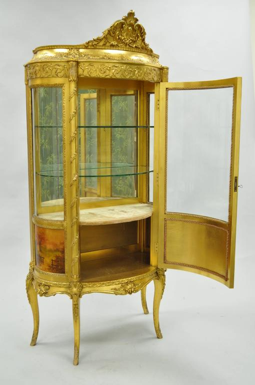 French Louis XV Gold Giltwood Vernis Martin Curved Glass Vitrine Curio Cabinet For Sale 5