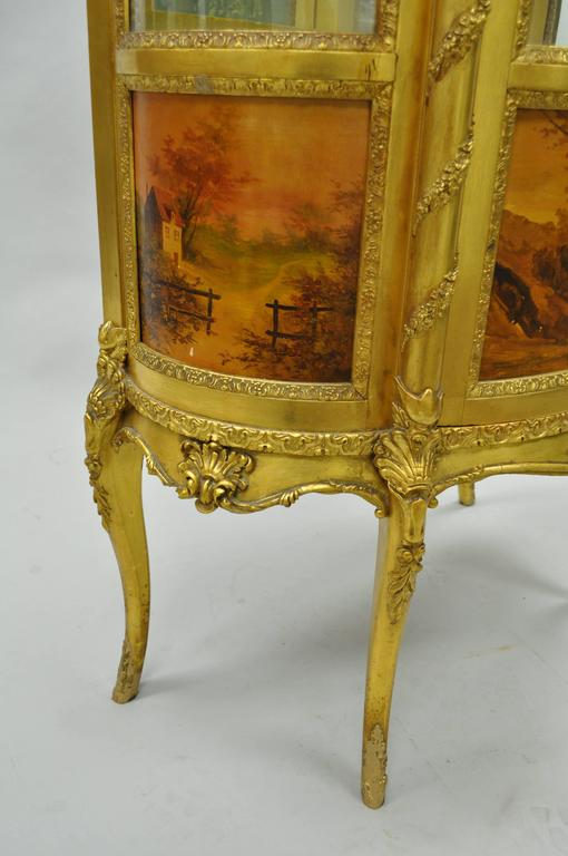 French Louis XV Gold Giltwood Vernis Martin Curved Glass Vitrine Curio Cabinet For Sale 2