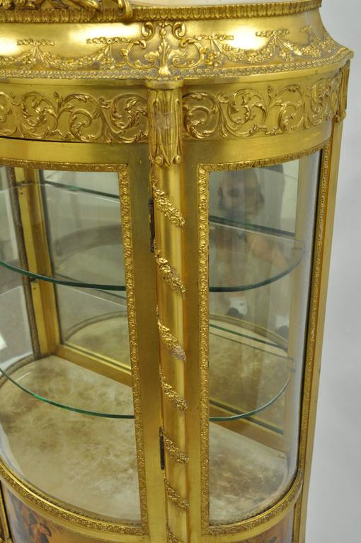 French Louis XV Gold Giltwood Vernis Martin Curved Glass Vitrine Curio Cabinet For Sale 3