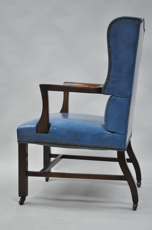 American Mid-20th Century Blue Leather Office Desk Chair on Casters After Edward Wormley For Sale