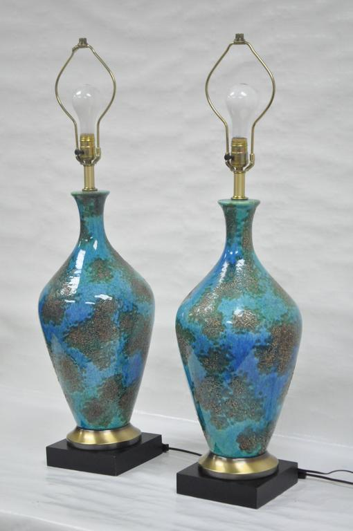 Pair of Mid-Century Italian Modern Blue Glazed Ceramic Sculptural Table Lamps For Sale 4