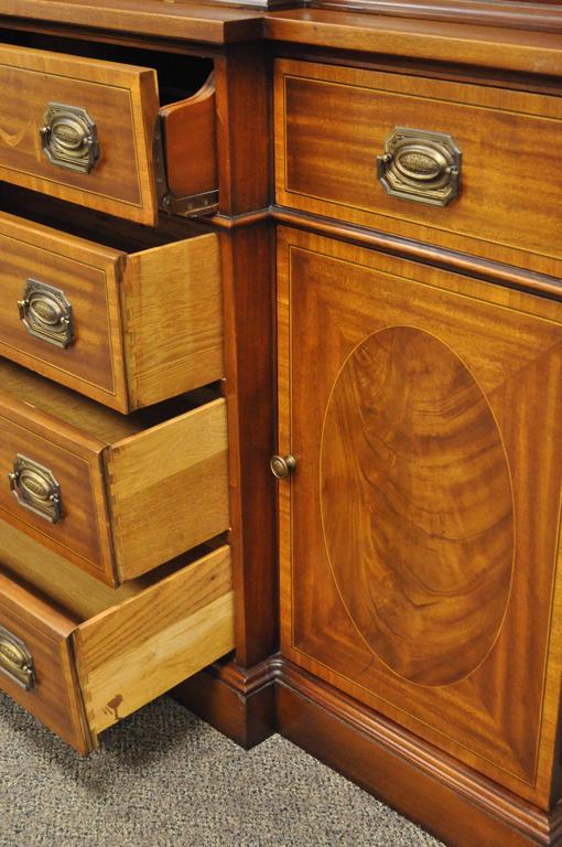 Custom Georgian Style Bubble Glass Satinwood Inlaid Mahogany Breakfront Cabinet For Sale 1