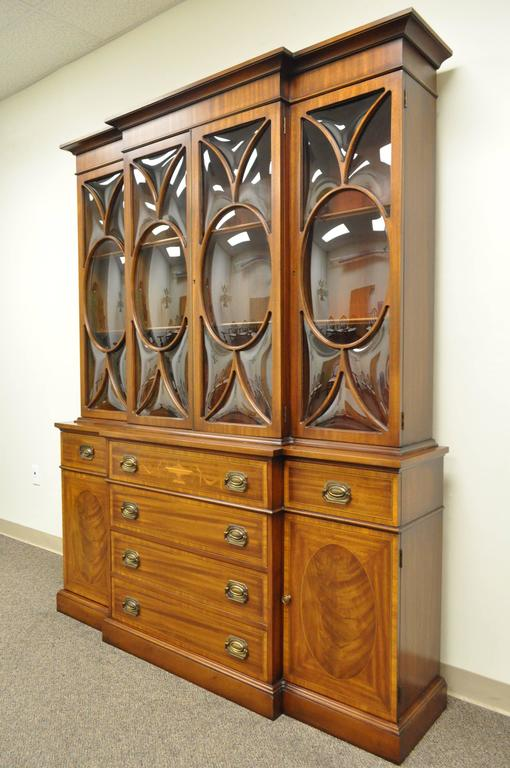 Custom Georgian Style Bubble Glass Satinwood Inlaid Mahogany Breakfront Cabinet For Sale 4