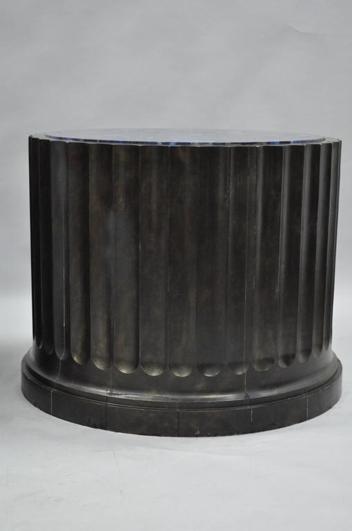 Wood Impressive Pair of Custom Fluted Column Pedestal Stands with Faux Specimen Tops For Sale