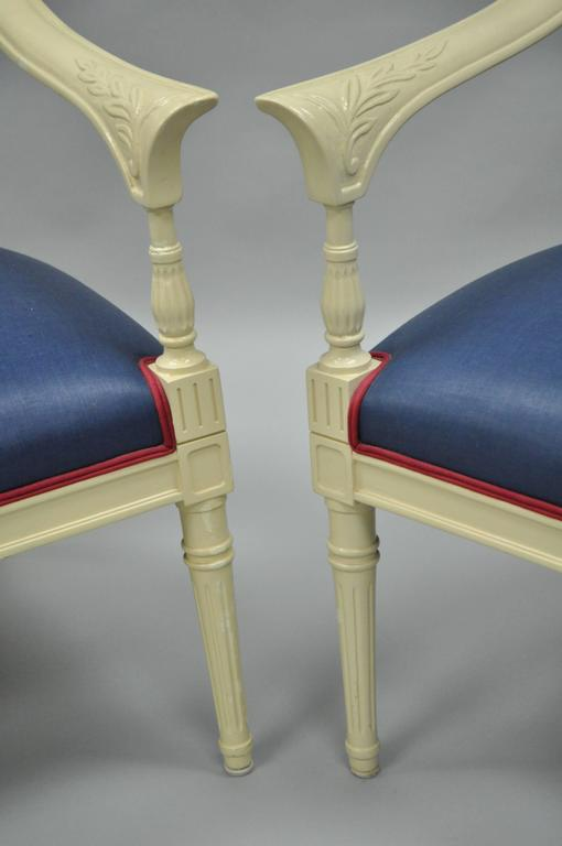 Mid-20th Century Pair of Vintage French Hollywood Regency Cream Lacquered Blue Lounge Chairs For Sale