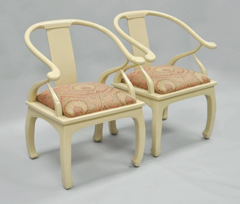 Pair of Vintage Cream Lacquered James Mont Style Ming Horseshoe Lounge Chairs 9