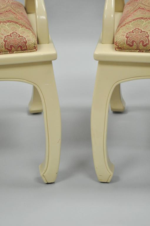 Pair of Vintage Cream Lacquered James Mont Style Ming Horseshoe Lounge Chairs 6