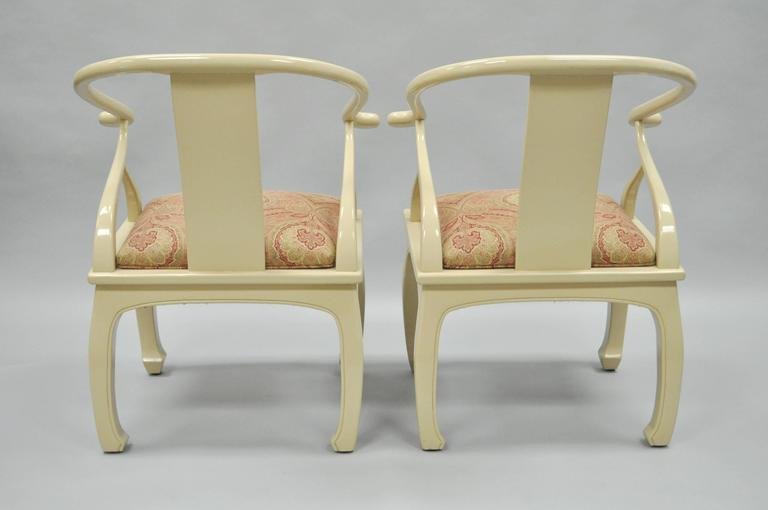 Pair of Vintage Cream Lacquered James Mont Style Ming Horseshoe Lounge Chairs 4