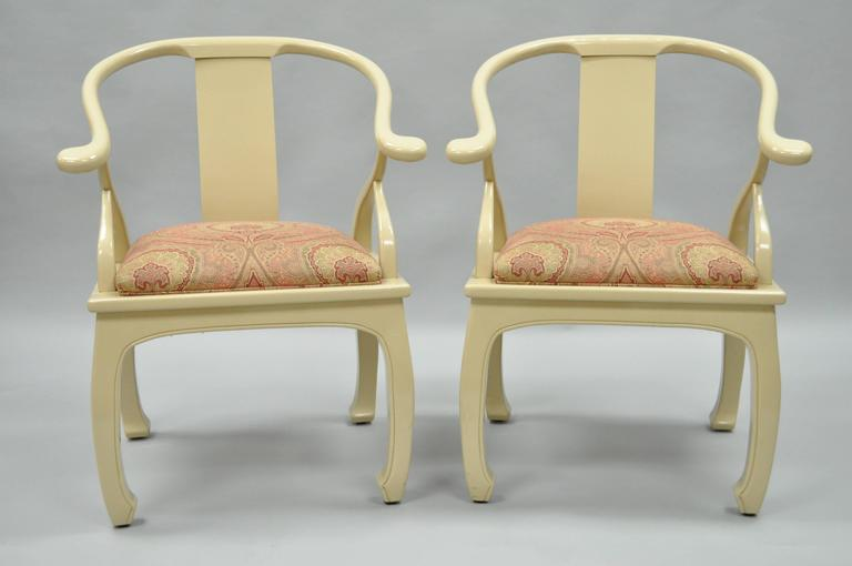 Pair of Vintage Cream Lacquered James Mont Style Ming Horseshoe Lounge Chairs 2