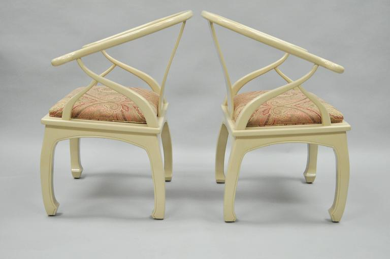 Pair of Vintage Cream Lacquered James Mont Style Ming Horseshoe Lounge Chairs 3