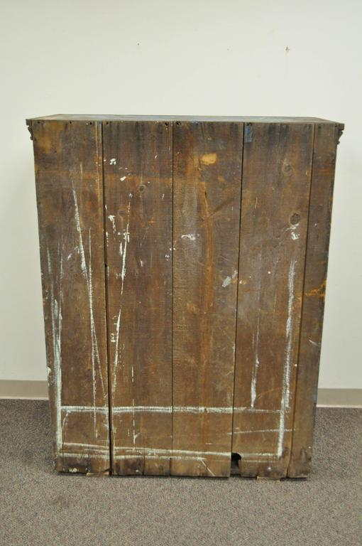 Antique Blue Distress Painted PA Rustic Primitive Jelly Cupboard Kitchen Cabinet For Sale 4