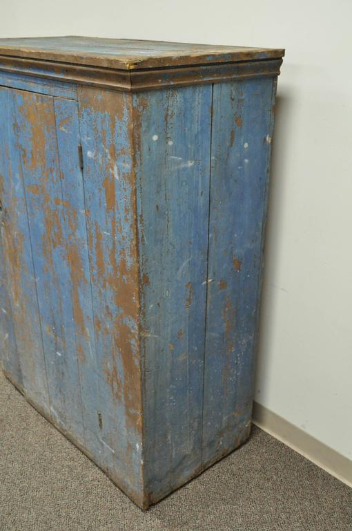 Antique Blue Distress Painted PA Rustic Primitive Jelly Cupboard Kitchen Cabinet For Sale 1