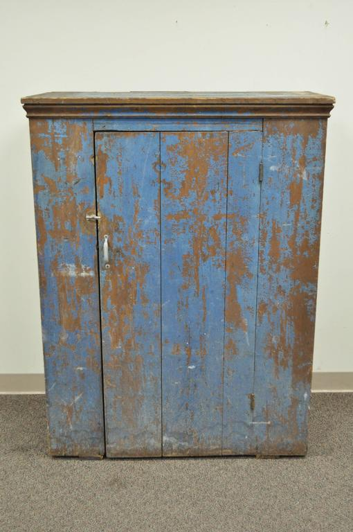 Antique Blue Distress Painted PA Rustic Primitive Jelly Cupboard Kitchen  Cabinet 2 - Antique Blue Distress Painted PA Rustic Primitive Jelly Cupboard
