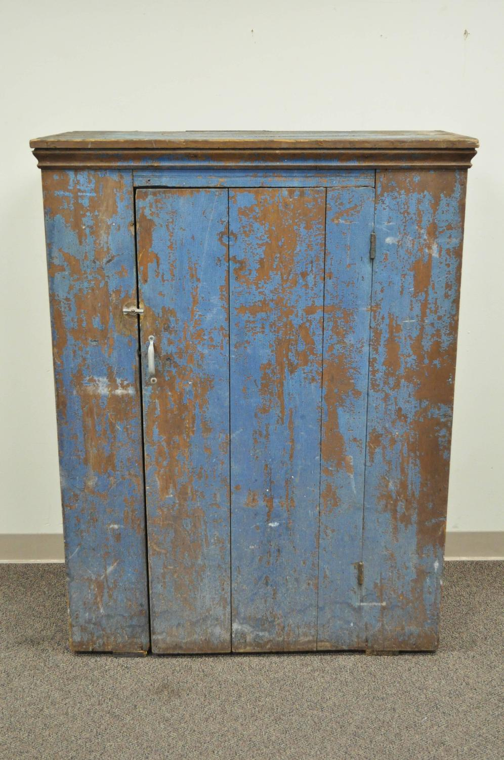Antique Blue Distress Painted PA Rustic Primitive Jelly Cupboard ...