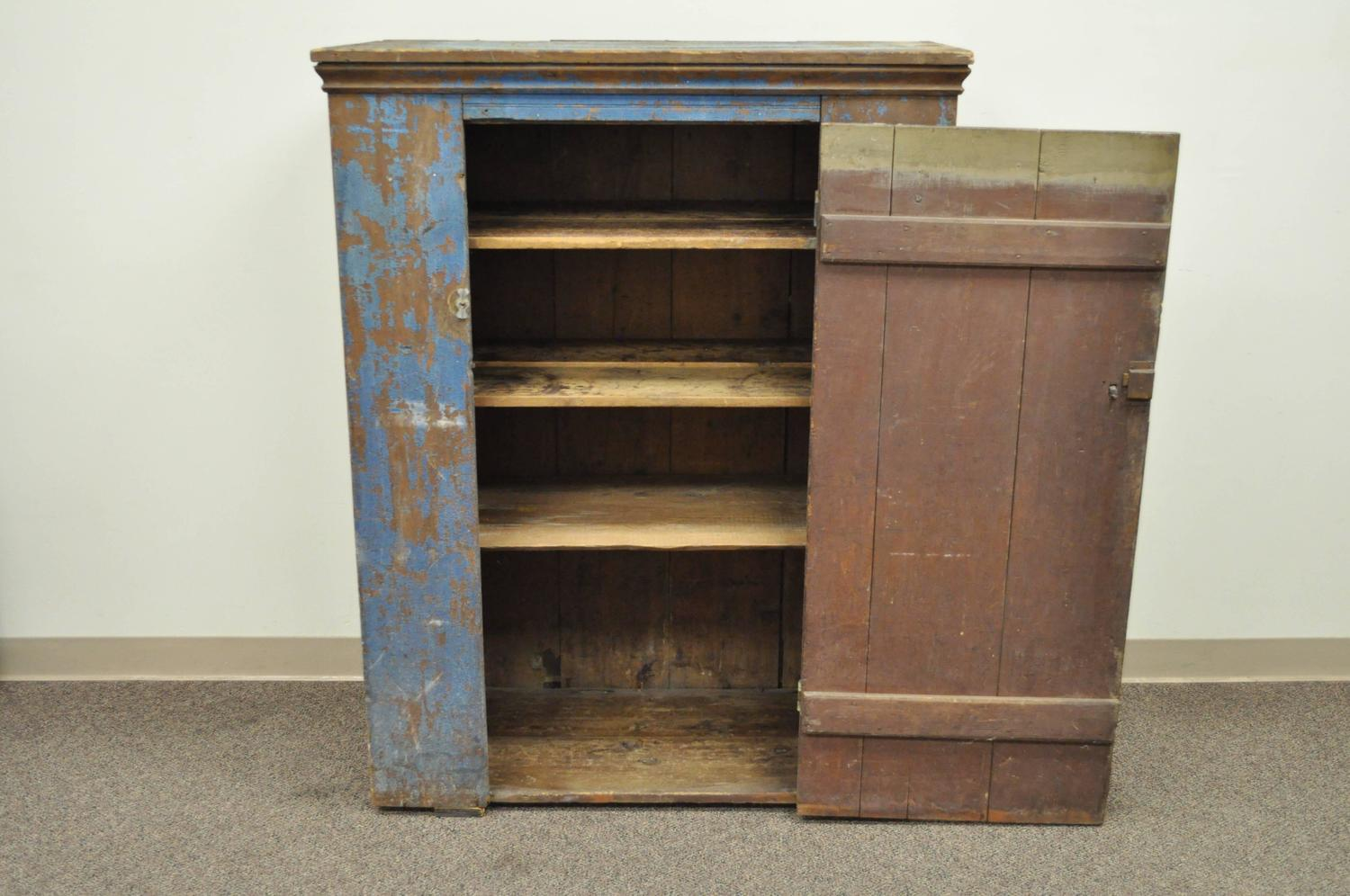 Antique Blue Distress Painted Pennsylvania Primitive Jelly Cupboard Cabinet For Sale At 1stdibs