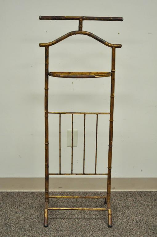 Vintage 1940s Italian faux bamboo frame tole metal (iron) gold-leaf clothing valet.