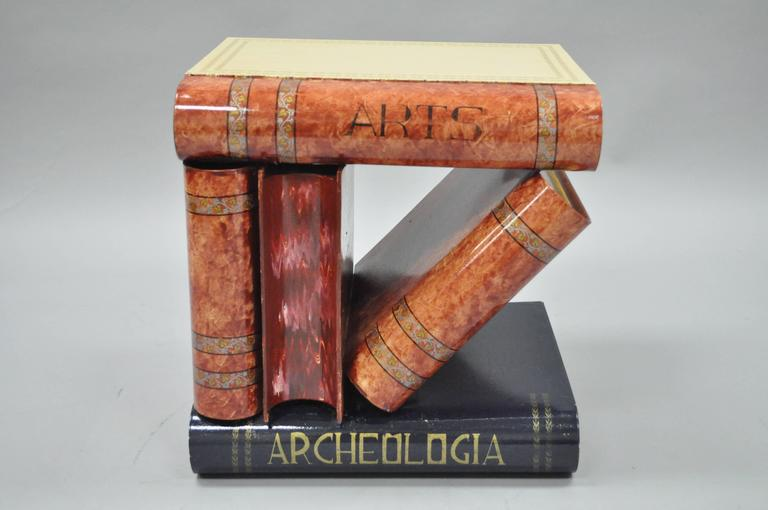 Whimsical Italian Hollywood Regency Stacked And Leaning Book Form Toleware  Flip Top Accent Table.