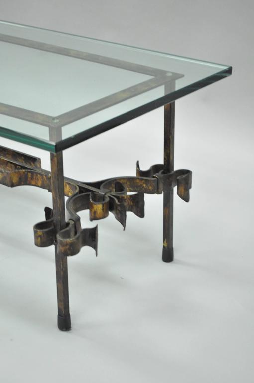 Rectangular Glass Coffee Table: Ornate Hollywood Regency Gold Gilt Scrolling Iron
