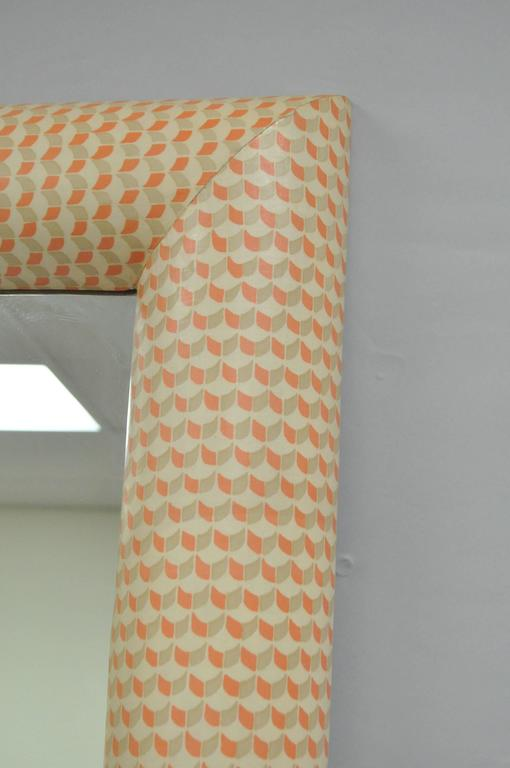 1970's Karl Springer Style Orange and White Wall Mounted Console Table & Mirror In Good Condition For Sale In Philadelphia, PA