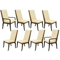 Set Of Eight Mastercraft For Baker Brass Trim Dining Room Chairs
