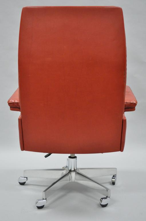 Vintage De Sede DS 35 Red Leather & Chrome Caster Executive Swivel Desk Chair For Sale 1