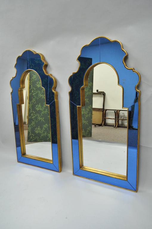 Pair of Bunny Williams for Mirror Image Home Sapphire Blue and Gold ... ee858029316