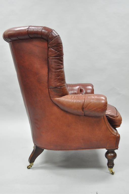 15a1f8aef831 Late 20th Century Oversized Lillian August Brown Tufted Leather English  Chesterfield Wing Chair For Sale