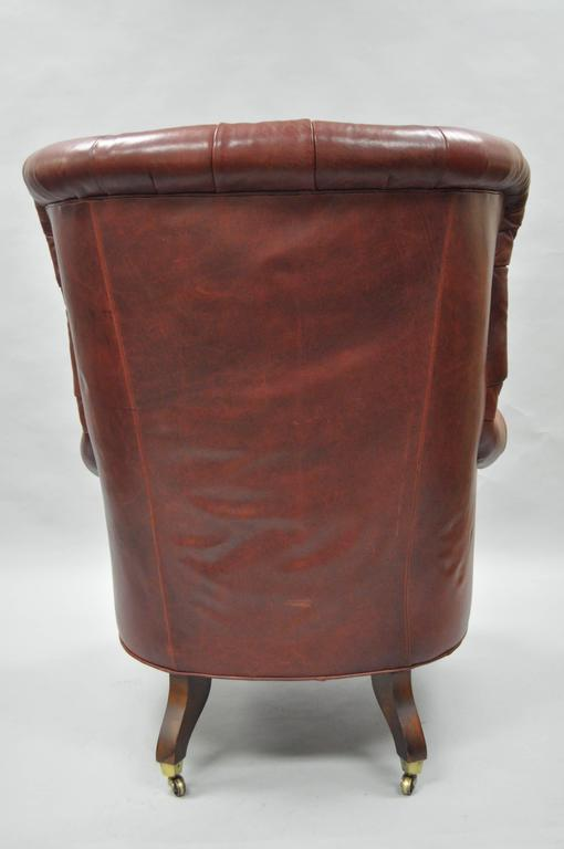 8e90c86228d1 Oversized Lillian August Brown Tufted Leather English Chesterfield Wing  Chair For Sale 2