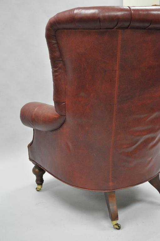 Beau Oversized Lillian August Brown Tufted Leather English Chesterfield Wing  Chair For Sale 3