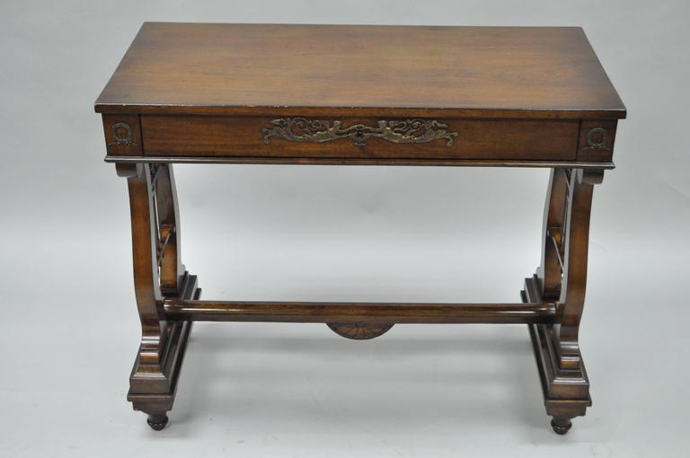 Ordinaire Antique Classical/Regency Style Mahogany Lyre Base One Drawer Console Table.  Item Features
