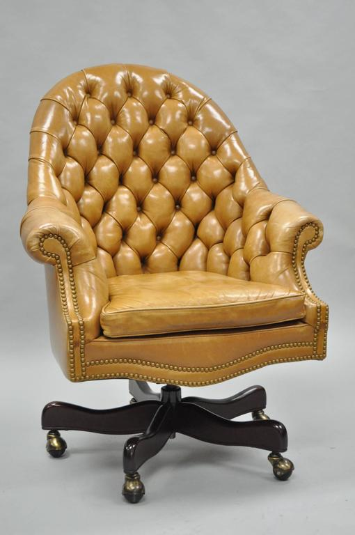 tan leather english chesterfield office desk chair for sale at 1stdibs