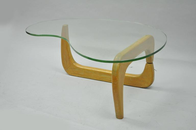 1950s Cerused Oak and Glass Kidney Shape Biomorphic Coffee Table