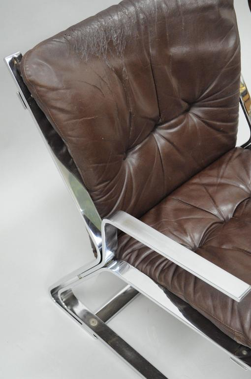 Mid-20th Century Pirate Lounge Chair Brown Leather & Chrome by Elsa & Nordahl Solheim for Rykkin For Sale