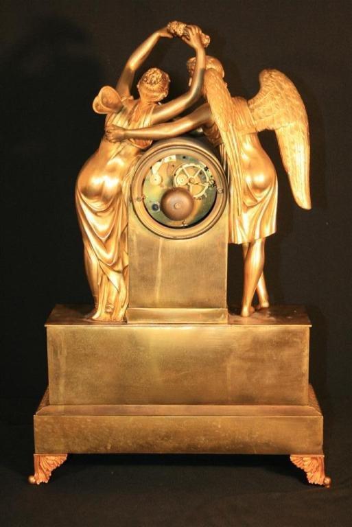 19th Century French Empire Gilt Dore Bronze Figural Amour & Psyche Mantel Clock For Sale 5