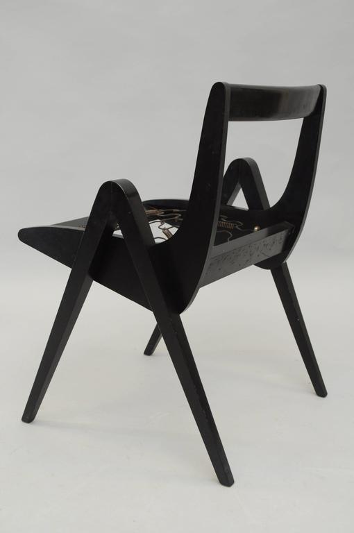 1950s Black Ebonized Compass Side Chair After Allan Gould or Pierre Jeanneret For Sale 3
