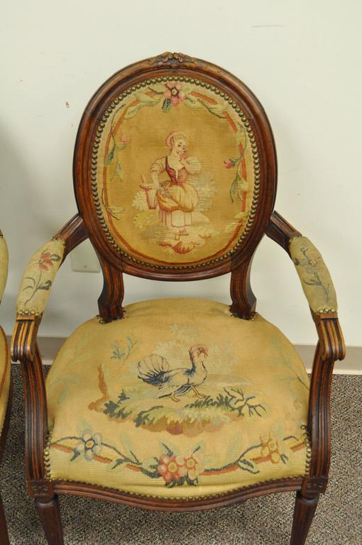 Pair of 19th Century French Louis XVI Style Walnut Armchairs 7
