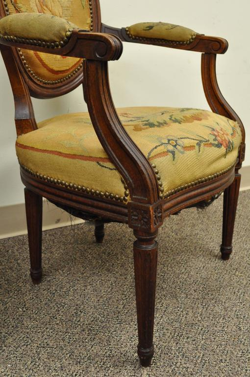 Pair of 19th Century French Louis XVI Style Walnut Armchairs 6