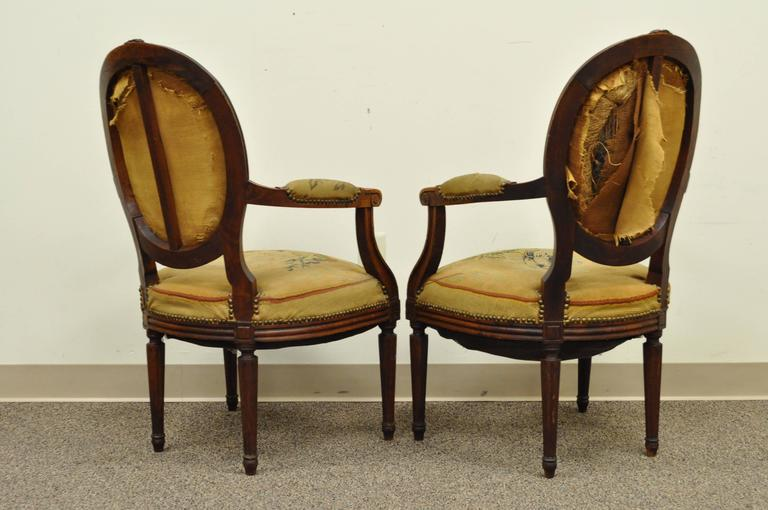 Pair of 19th Century French Louis XVI Style Walnut Armchairs 10