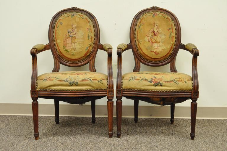 Pair of 19th Century French Louis XVI Style Walnut Armchairs 2
