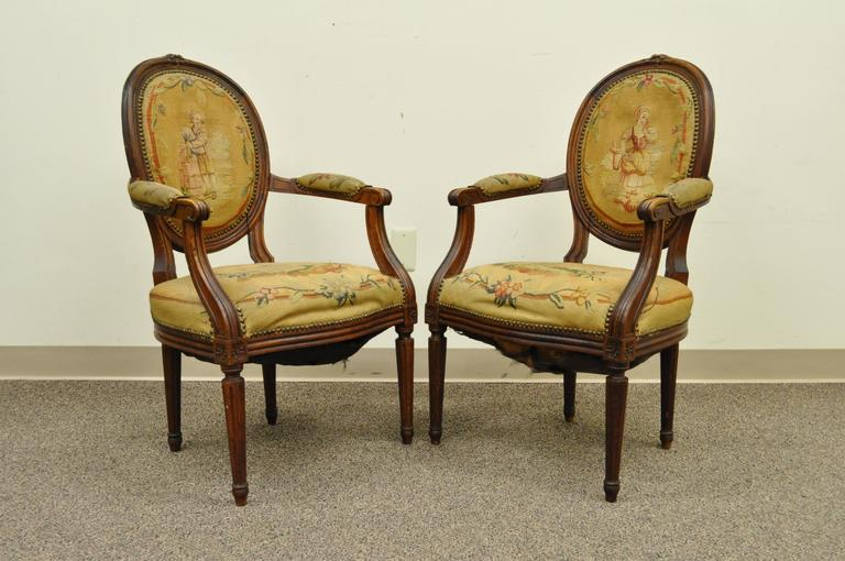 Pair of 19th Century French Louis XVI Style Walnut Armchairs 3
