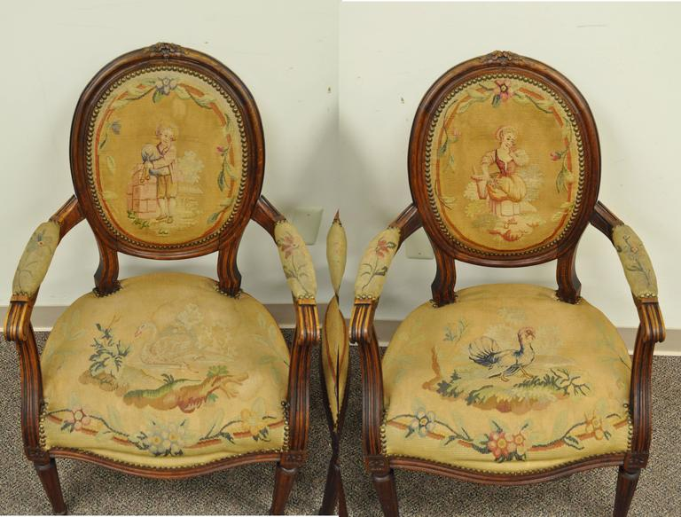 Pair of 19th Century French Louis XVI Style Walnut Armchairs 4