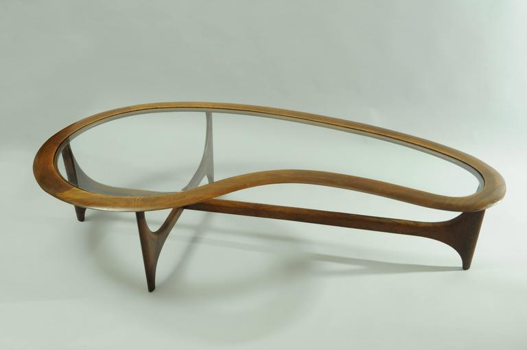 Vintage Lane Kidney Shaped Boomerang Walnut And Glass Coffee Table At 1stdibs