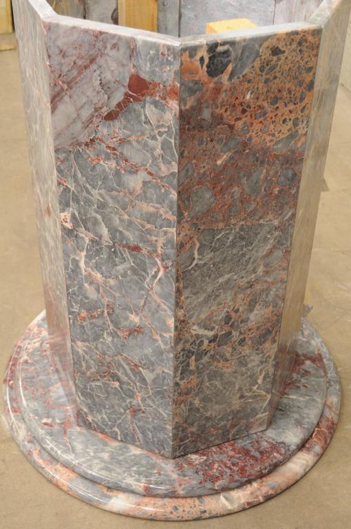 Vintage Italian Marble Octagonal Dining Table Pedestal