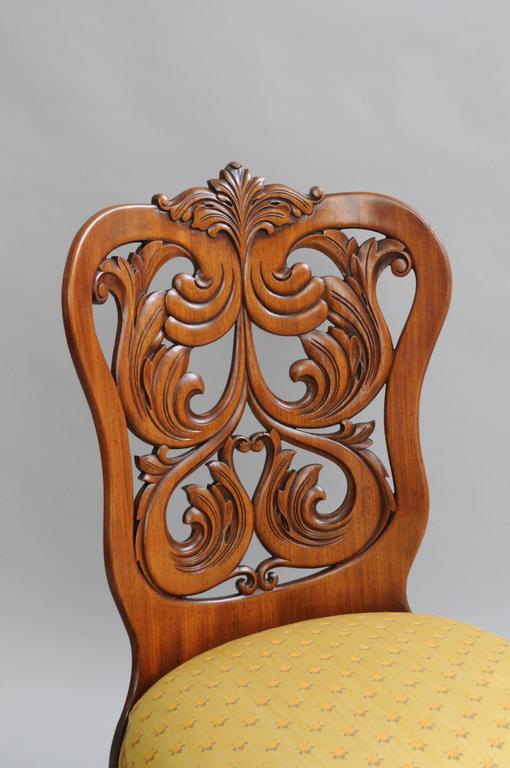 Rococo Revival Victorian Laminated Walnut Scroll Chair