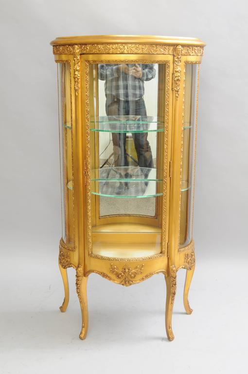 Small French Louis Xv Style Gold Giltwood Curved Glass