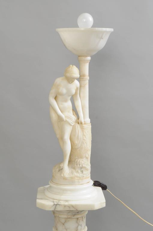 Art Nouveau Carved Alabaster and Marble Lamp on Pedestal Figural Nude Deco Woman For Sale 2