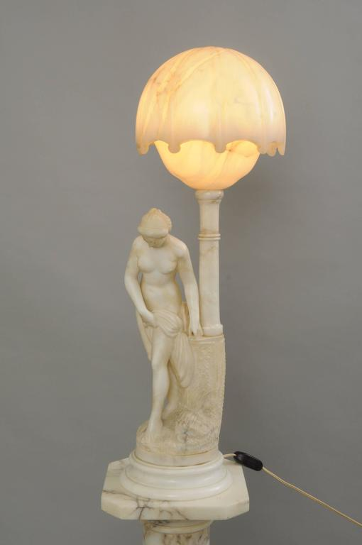 Italian Art Nouveau Carved Alabaster and Marble Lamp on Pedestal Figural Nude Deco Woman For Sale