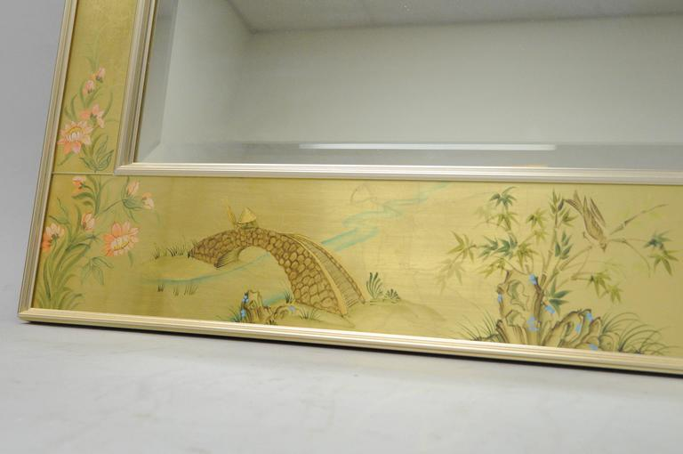 20th Century Labarge Chinoiserie Style Gold Eglomise Wall Mirror Reverse Painted Asian Signed For Sale